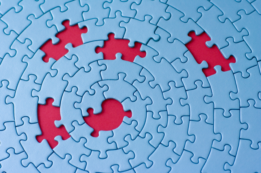 Jigsaw In Blue With Five Missing Pieces